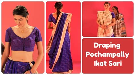 How To Drape Saree In Different Style How To Drape Pochampally Ikat Sari In Gujarati Style Youtube