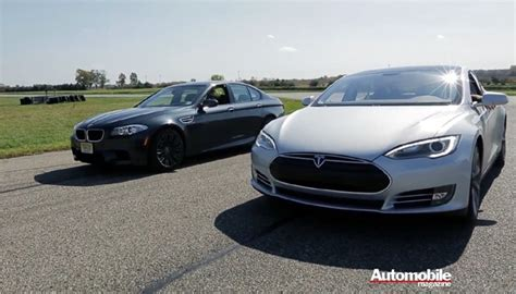Tesla And Bmw Rss Tesla Model S Vs Bmw M5 The Drag Race Auto News