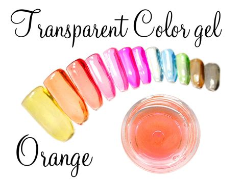 Transparente Nägel transparent color gel orange