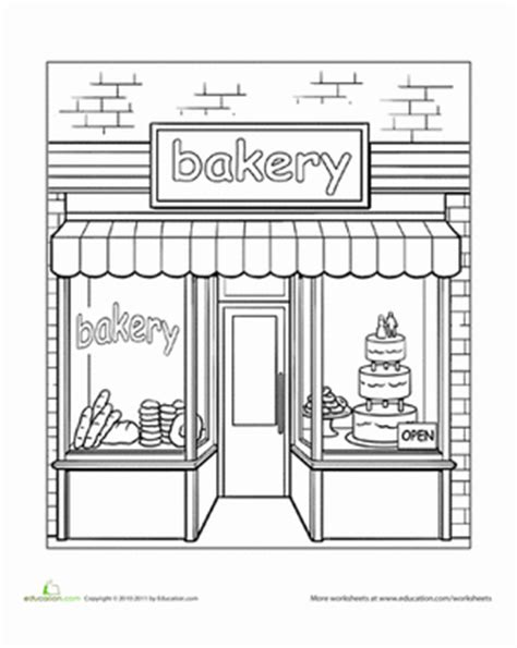 preschool coloring pages grocery store bakery worksheet education com