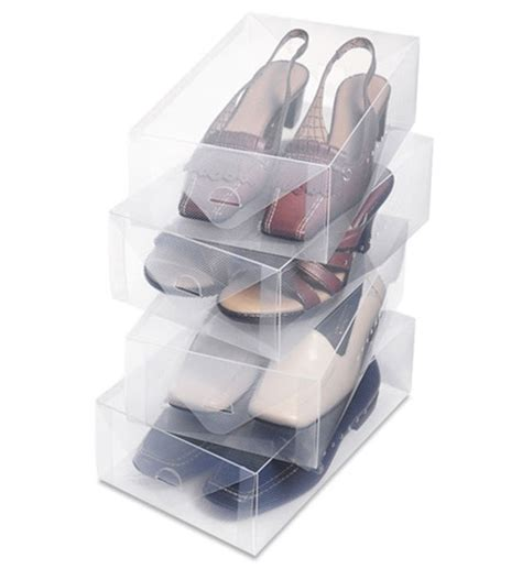 clear storage shoe boxes clear shoe storage box womens set of 4 in shoe boxes