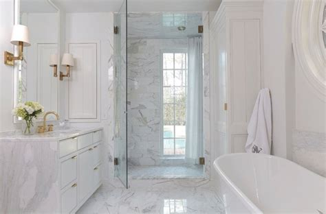 bathroom vanity with waterfall countertop transitional