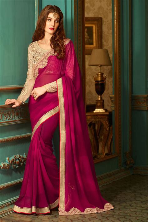 Blouse Designs For Heavy Sarees by Magenta Georgette Mate Saree With Heavy Designer Blouse