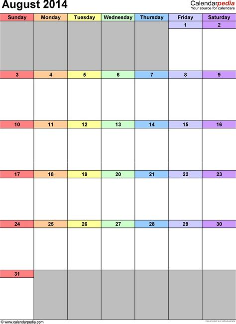 2014 calendar templates excel august 2014 calendar as printable word excel pdf