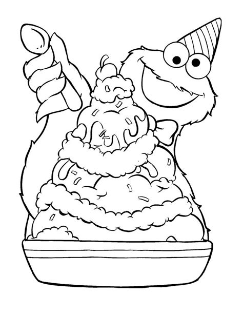 monster birthday coloring page cookie monster ice cream sundae coloring pages