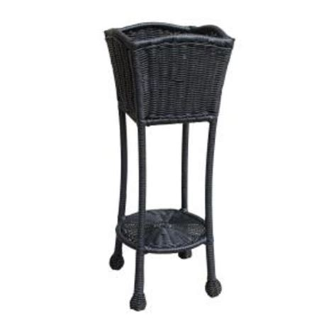 black wicker patio furniture home depot jeco black wicker patio furniture planter stand ori001 d