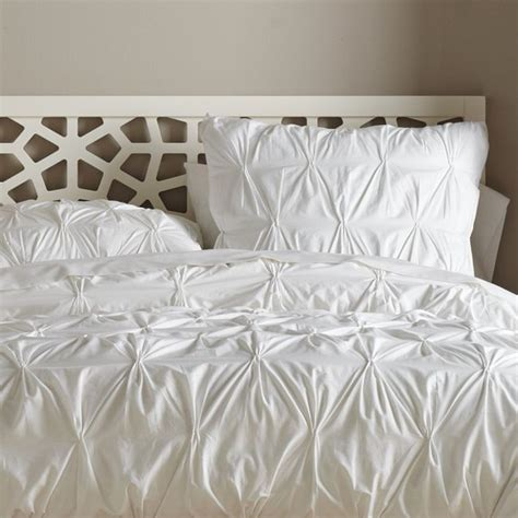 Organic Cotton Pintucked Duvet Cover White Contemporary