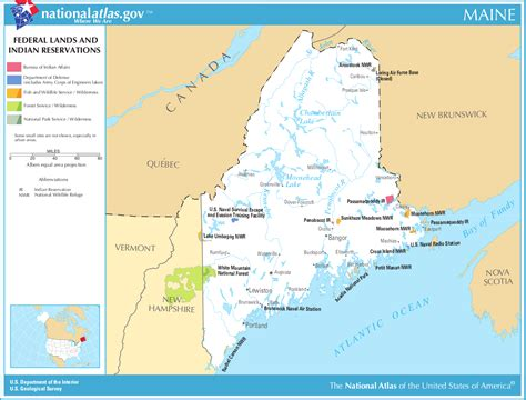 maine in usa map map of maine map federal lands and indian reservations