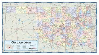 oklahoma counties wall map maps