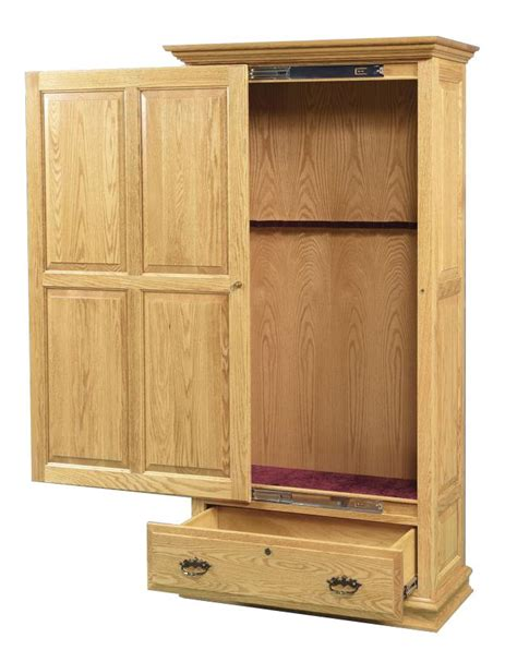 Amish Cabinet Doors Amish Handcrafted Gun Cabinet With Sliding Door