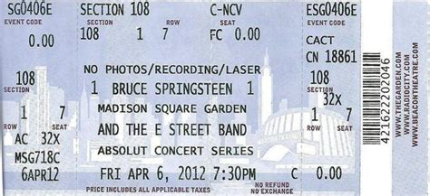 Tickets Square Garden by Brucebase 2012 04 06 Square Garden New York