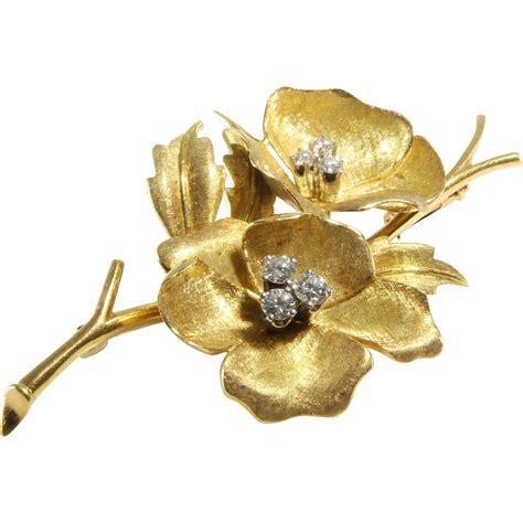 Geneva Flowers 18 gold flower brooch 18k brilliant vintage swiss