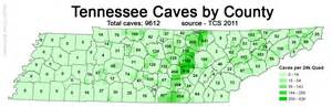 Tennessee Map Counties by Tn Caves Per County 2011also See Tn Sinkholes