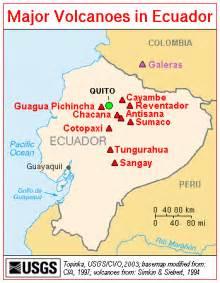 map of ecuador major volcanos worldofmaps net
