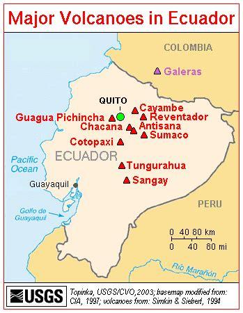 america volcano map map of ecuador major volcanos worldofmaps net