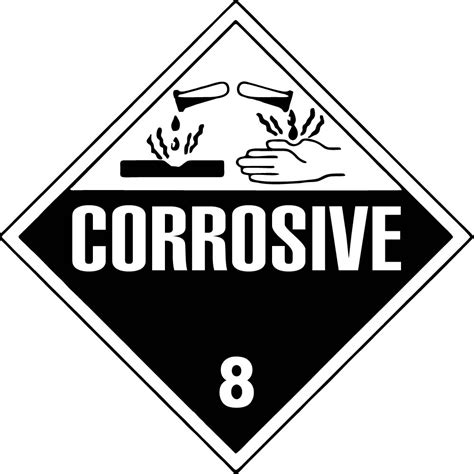 printable corrosive label one 273mm x 273mm hazard class 3 placard lb19112