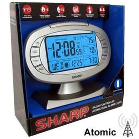 sharp spc384d atomic lcd backlight bedside alarm clock silver blue on popscreen