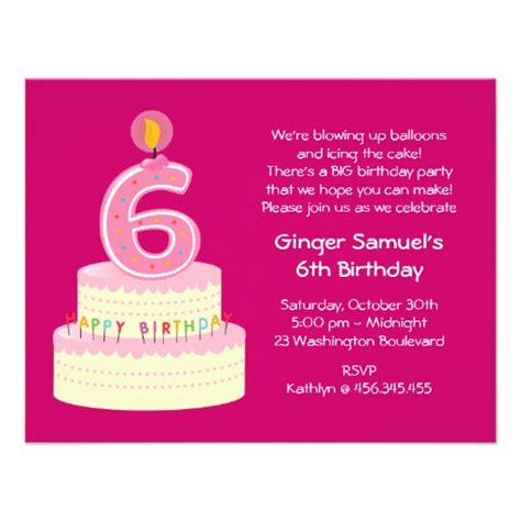 6th birthday card template 6th birthday cake simple invitation 4 25 quot x 5 5