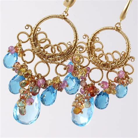 wire wrapped chandelier earrings crafted 18k gold swiss blue topaz wire wrapped