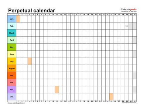 Perpetual Calendar Template 2 For Free Tidyform Perpetual Calendar