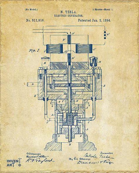 tesla generator patent 1894 tesla electric generator patent vintage by