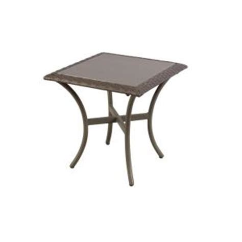 hton bay posada 18 in glass top patio side table 153