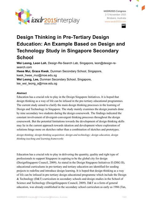 design thinking for educators pdf design thinking in pre tertiary design education an