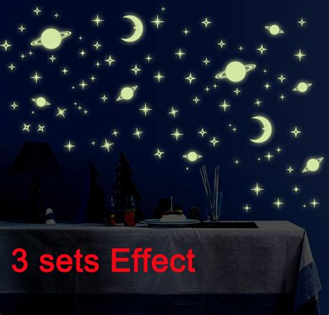 Sticker Dekorasi Glow In 3 sets glow in the moon planet room luminous wall stickers home wall decal