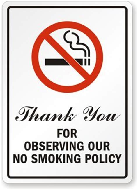 no smoking signs 7 quot x10 quot interior signs seton thank you for observing our no smoking policy sign 10 quot x