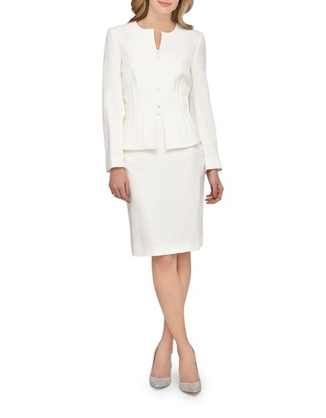Jacket Pencil Skirt Set tahari 2 peplum jacket and skirt set in white lyst