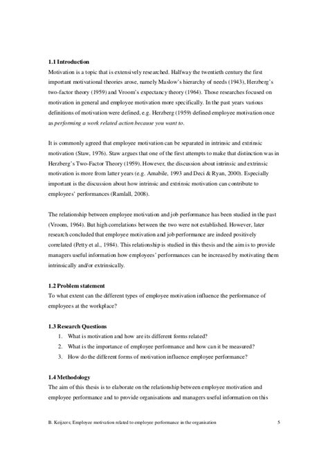 Cornell Mba Impact Essay Sle by Thesis On Employee Motivation Employee Motivation Thesis