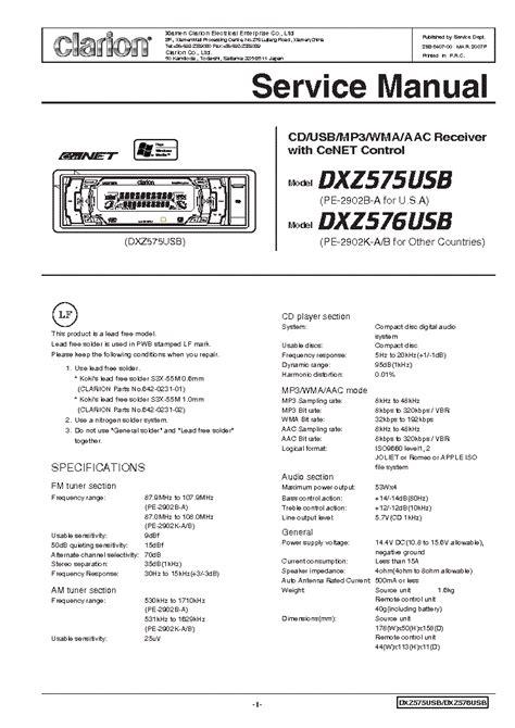 clarion dxz575usb 576usb service manual