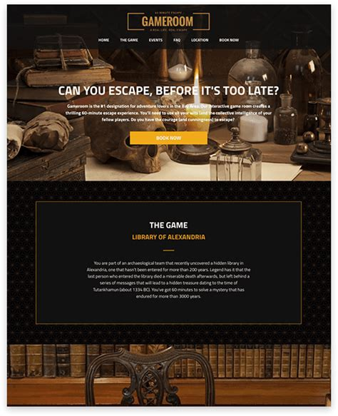 Small Business Websites Logical Position Escape Room Website Template