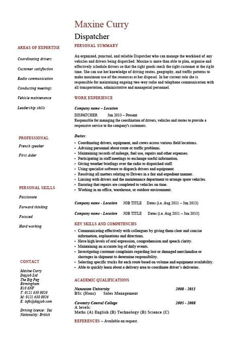 Dispatcher Resume dispatcher resume driver templates description
