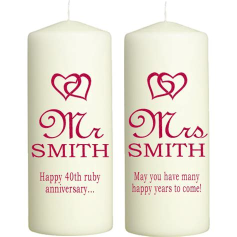 Ruby Wedding Anniversary Candles Personalised