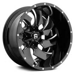 Black Truck Wheels With Accents Fuel 174 Cleaver 2pc Cast Center Wheels Gloss Black With