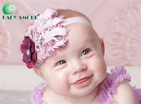 Headband Bayi Flower Bone 3 baby feather headbands baby feather hair ornaments hair bands shining headwear hair