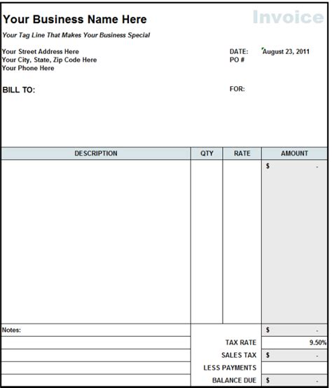 free construction invoice template blank invoice statement form free invoice template from