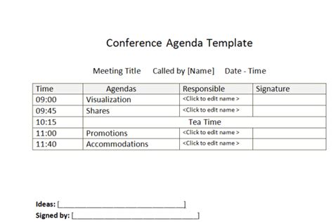 Supplier Visit Agenda Template