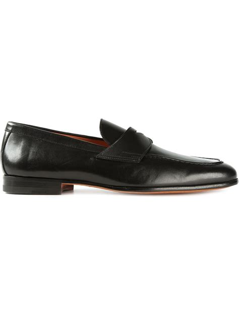 black loafers santoni loafers in black for lyst