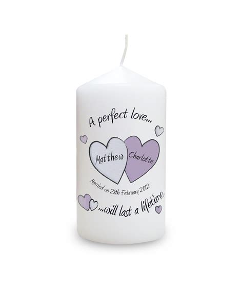 personalised candle wedding a perfect love just for gifts