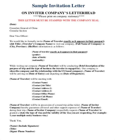 Business Visa Letter Of Invitation Template Sle Business Invitation Letter 6 Exles In Word Pdf