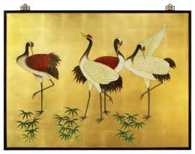 Top Red Living Room hand painted cranes wall plaque asian artwork by
