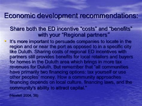 Economic Development Mba Programs by Duluth Economic Development Policy Presentation