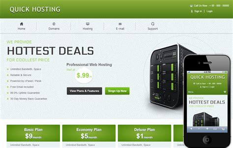 Free Hosting Templates hosting domain sales mobile web template