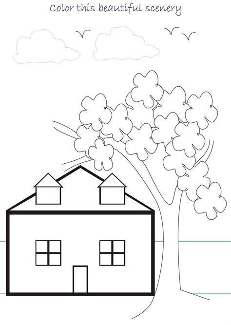 scenery colouring pages