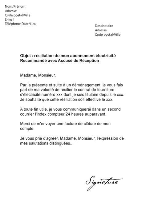 Lettre De Demande D Installation D Un Compteur Electrique Modele Lettre Resiliation Edf Gdf