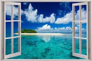 Window Wall Mural window exotic beach view wall stickers film mural art decal wallpaper