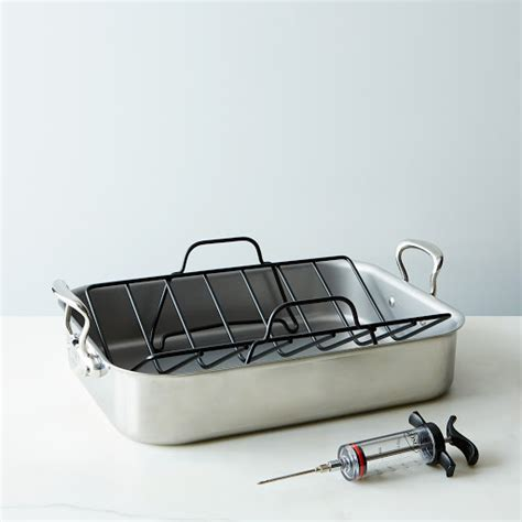 Roast Pan With Rack by Mauviel Stainless Steel Roasting Pan With Rack Rosle