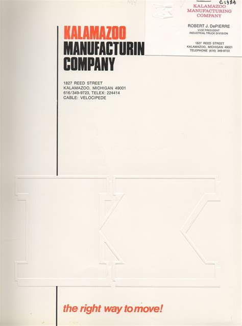 Introduction Letter Manufacturing Company Kalamazoo Manufacturing Company 1984 Catalog